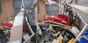 Helicopter crashed into residential building
