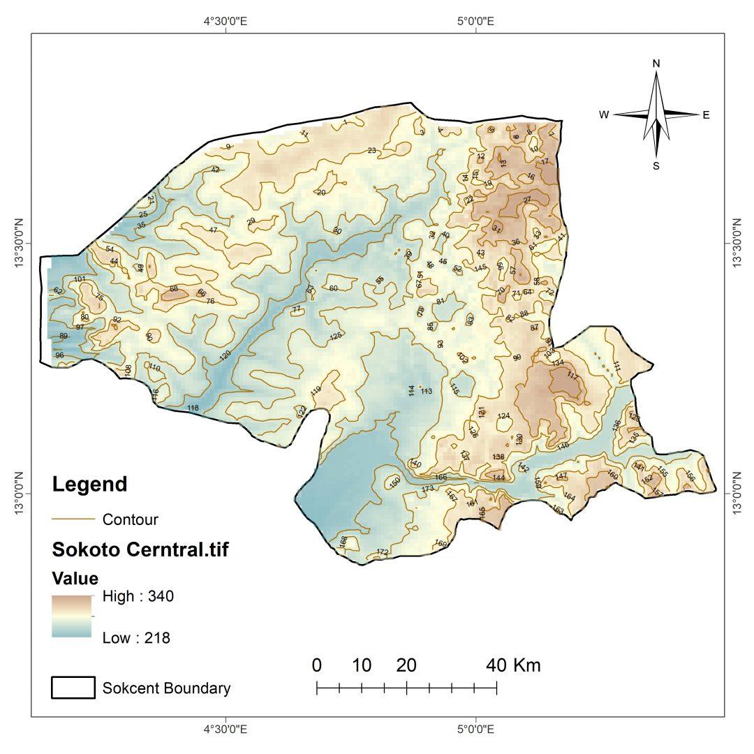 SOKOTO CONTOUR MAP