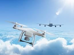 Plane narrowly misses colliding with drones at Heathrow airport.